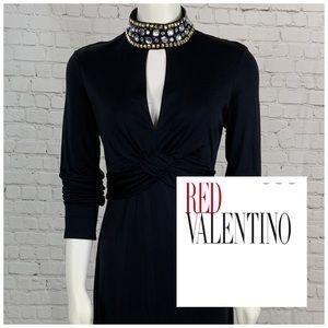 Red Valentino Jeweled Keyhole  Silk Blend Dress